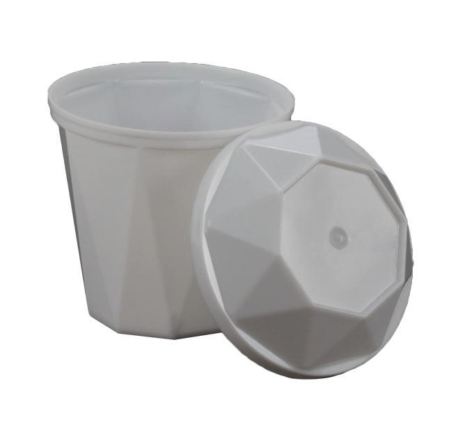 Copo de acrílico descartável com tampa